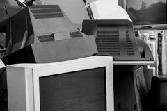 Old used and obsolete electronic equipment Stock Image