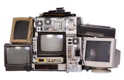 Old, used and obsolete electronic equipment Stock Images