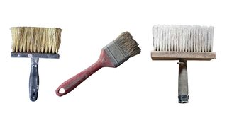 Old used painting tools isolated on white background. Vintage handle tools stock image