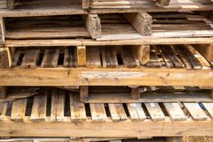 Old and Used Palate Wood Timber on the Construction Work Site.  royalty free stock photography