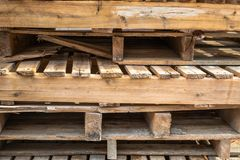 Old and Used Palate Wood Timber on the Construction Work Site.  royalty free stock photos