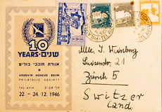 An old used Palestinian envelope and stamps Stock Photography