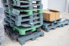 Old used pallets stacking together Royalty Free Stock Image