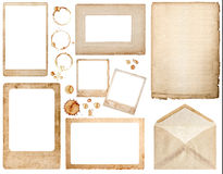Old used paper, envelope, photo frames and coffee stains scrapbo Stock Image