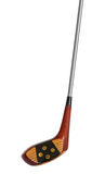 Old used persimmon golf club driver isolated Stock Photo