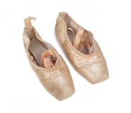 Old used pink ballet shoes Royalty Free Stock Photography