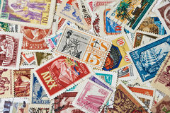 Old used postage stamps Stock Photos