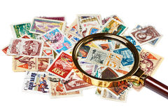 Old used postage stamps Royalty Free Stock Photos