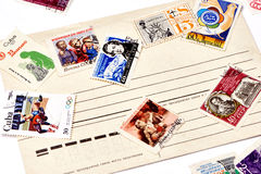 Old used postage stamps Stock Images