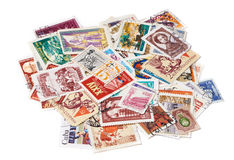 Old used postage stamps Royalty Free Stock Photography