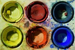 Old used primary colors water color paint box. Overhead close up image royalty free stock image