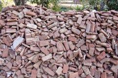Old used red bricks stack in India Stock Photo