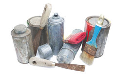 Old used spray cans and paint bucket. Isolated on white Stock Images