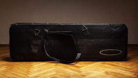 Old Used Suitcase for Bass Guitar Stock Photos