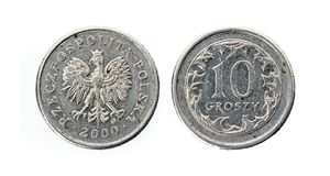 Old used ten Polish groszy coin isolated on white background. royalty free stock photography