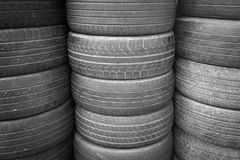 Old used tire textured background, Secondhand. Stack of Old used tire textured background, Secondhand or recycle concept Royalty Free Stock Image