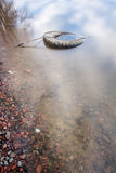 Old used tires lies in the sea, filled with branches Royalty Free Stock Images