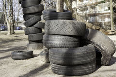 Old used tires Stock Photos