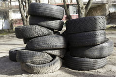 Old used tires Royalty Free Stock Photos