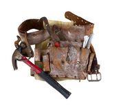 Old used tool belt with hammer Stock Photos