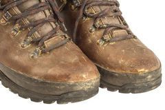 Old used trekking boots clipping path Stock Photo