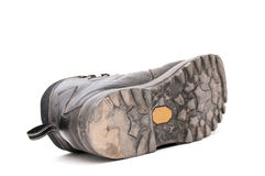 Old used trekking boots Stock Photo