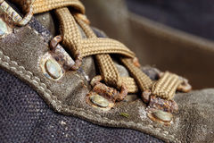 Old used trekking shoes Stock Photos