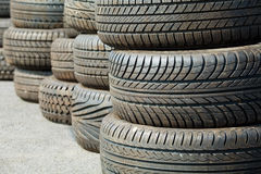 Old used tyre. Pattern of old used tyre Stock Images