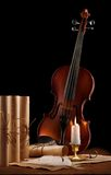 Old Used Violin With Antique Items Stock Images