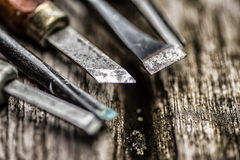 Old Used Wood Chisels Selection On The Wooden Table Royalty Free Stock Images