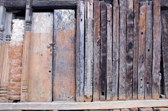 Old used wooden wall with door and lock Royalty Free Stock Photos