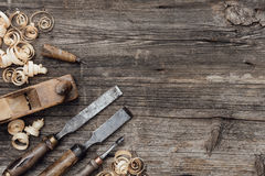Old carpentry tools on the workbench Royalty Free Stock Image
