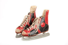 Old and uses ice skates on white background Stock Photography