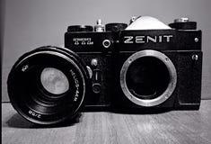 Old USSR camera Zenit. TTl Stock Photo