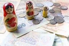 Old USSR money. Matroshka. Rubles Stock Images