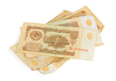 Old USSR money. On white Stock Photography