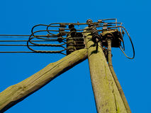 Old utility power pole wood Royalty Free Stock Photo