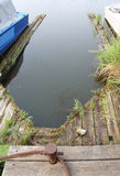 An old vacant mooring place for a boat Royalty Free Stock Images