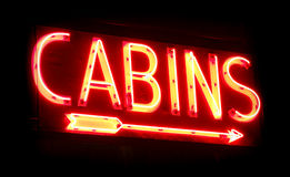 Old Vacation Cabins Rental Vintage Neon Sign Glow Stock Photo