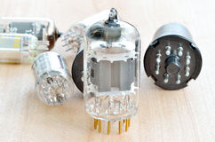 Old vacuum radio tubes Royalty Free Stock Image