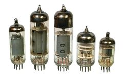 Old vacuum radio tubes. Royalty Free Stock Photo