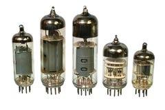 Old vacuum radio tubes. Glass vacuum radio tubes. Isolated image on white background Royalty Free Stock Photo