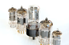 Old vacuum radio tubes Stock Images