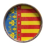 Old Valencia flag. 3d rendering of an autonomous community of Spain, Valencia community flag over a rusty metallic plate. Isolated on white background Stock Photography