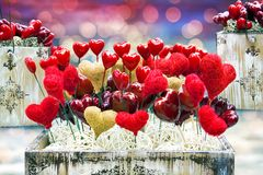 Old Valentine boxes with hearts and lights. Vintage Valentine boxes with hearts and lights Royalty Free Stock Image