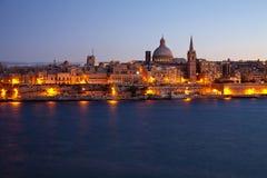 Old Valletta in dusk. View of Malta. Old Valletta in dusk Royalty Free Stock Photo