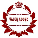 Old VALUE ADDED red seal. Illustration graphic image concept Stock Photo