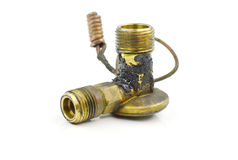 Old valve brass on white background Royalty Free Stock Photography