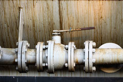 Old valve or dirty valve in dirty work, Dirty valve in oil transfer station Royalty Free Stock Photo