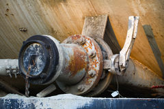 Old valve or dirty valve in dirty work, Dirty valve in oil transfer station Royalty Free Stock Images